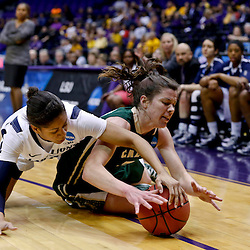 Mar 24, 2013; Baton Rouge, LA, USA; Penn State Lady Lions guard Dara Taylor (2) and Cal Poly Mustangs guard Caroline Reeves (22) scramble for a loose ball in the first half during the first round of the 2013 NCAA womens basketball tournament at the Pete Maravich Assembly Center. Mandatory Credit: Derick E. Hingle-USA TODAY Sports