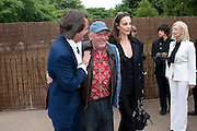 TIM JEFFERIES; DAVID BAILEY; CATHERINE BAILEY, 2009 Serpentine Gallery Summer party. Sponsored by Canvas TV. Serpentine Gallery Pavilion designed by Kazuyo Sejima and Ryue Nishizawa of SANAA. Kensington Gdns. London. 9 July 2009.