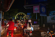 Night scene in Siem Reap as local people enjoy the annual Water Festival.