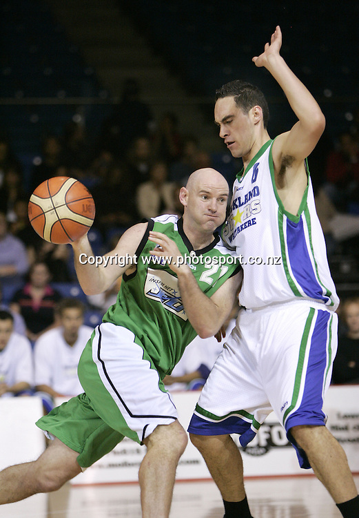 Jets' Kent Mori tries to get around the Stars defence during the NBL Basketball game between the Auckland Stars and the Manawatu Jets, at ASB Stadium, Auckland, New Zealand, on Friday 15 April, 2005. The Stars won the match 95-90. Photo: PHOTOSPORT<br /><br /><br />120918