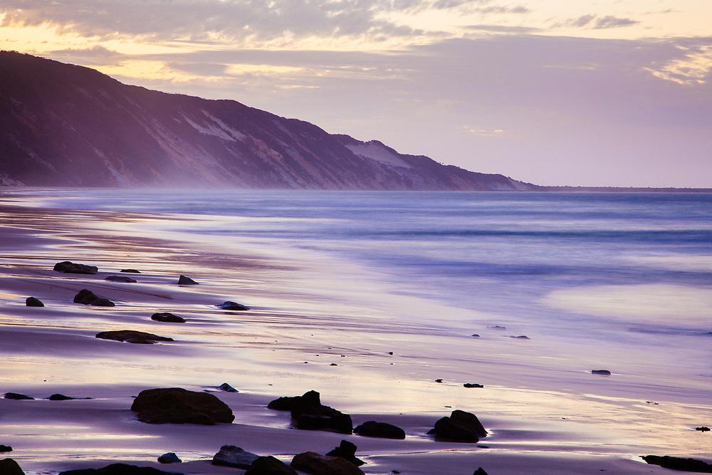 Dusk colours along Rainbow Beach, Great Sandy National Park.