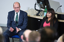 © Licensed to London News Pictures . 17/11/2014 . Kent , UK . UKIP's Mark Reckless (l) and Labour's Naushabah Khan (r) at a hustings at which the UKIP candidate Mark Reckless (l) was jeered after suggesting EU citizens could be deported from the UK after a fixed period . Candidates in the upcoming Rochester and Strood by-election appeared at the hustings , at the Pilkington Building at the Universities at Medway , for a television debate for Meridian TV , which was broadcast on 18/11/2014 . Photo credit : Joel Goodman/LNP