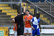 Ben Heneghan (6) of Blackpool is shown a red card, sent off during the EFL Sky Bet League 1 match between Bristol Rovers and Blackpool at the Memorial Stadium, Bristol, England on 15 February 2020.