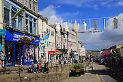 Shops in Market Jew Street, Penzance, Cornwall, England, UK