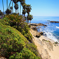 Photo of Laguna Beach California shoreline along the Pacific Ocean. Laguna Beach is a seaside beach community in Orange County Southern California.