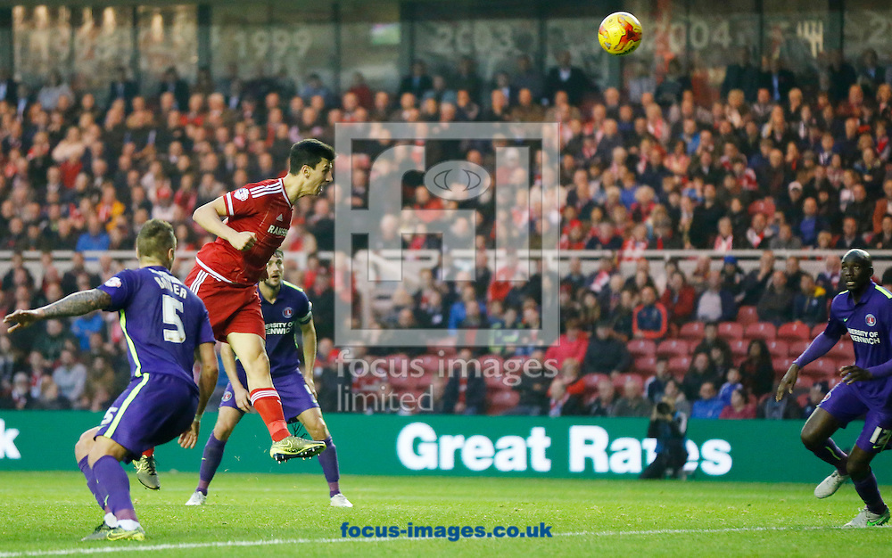 Daniel Ayala (red top) of Middlesbrough scoring to make it 3-0 during the Sky Bet Championship match at the Riverside Stadium, Middlesbrough<br /> Picture by Simon Moore/Focus Images Ltd 07807 671782<br /> 31/10/2015