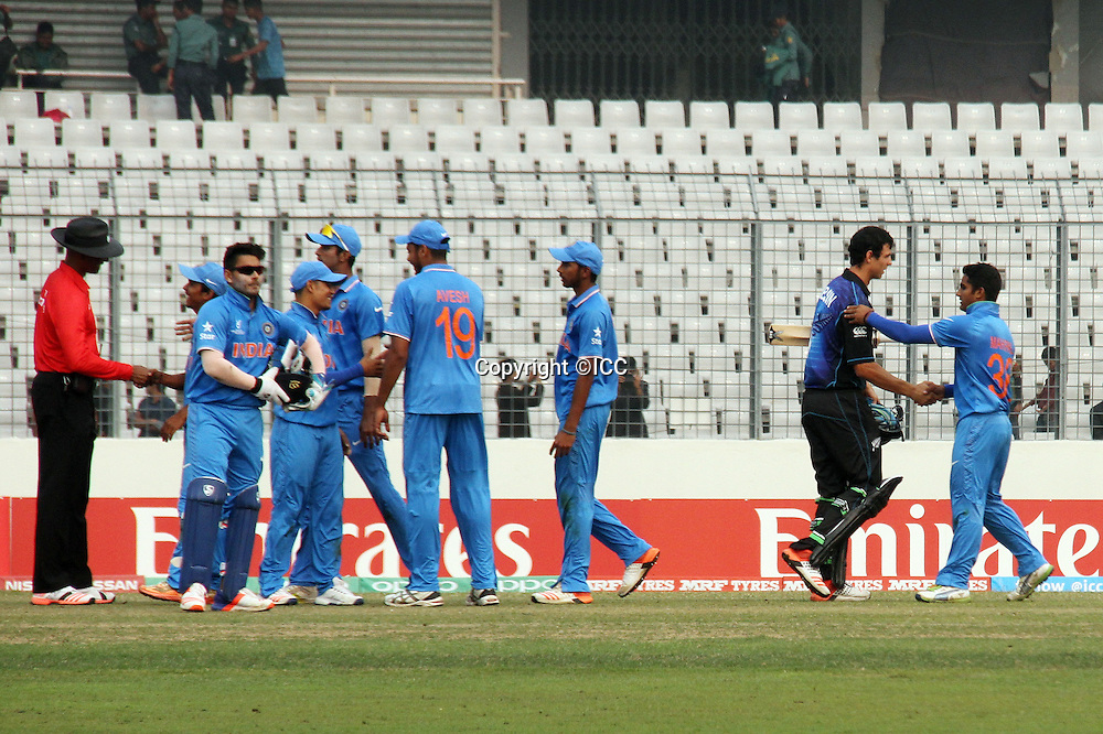 India win against New Zealand at Mirpur Sher e Bangla national stadium.<br /> New Zealand v India, ICC U19 Cricket World Cup at Mirpur, Bangladesh. 30 January 2016.<br /> India beat New Zealand by 120 runs.<br /> Photo: &copy;ICC