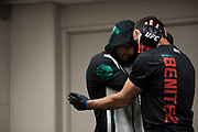 DALLAS, TX - MAY 13:  Gabriel Benitez talks with his coach before fighting Enrique Barzola during UFC 211 at the American Airlines Center on May 13, 2017 in Dallas, Texas. (Photo by Cooper Neill/Zuffa LLC/Zuffa LLC via Getty Images) *** Local Caption *** Gabriel Benitez
