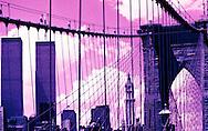 View from Brooklyn Bridge of World Trade Center, New York, NY
