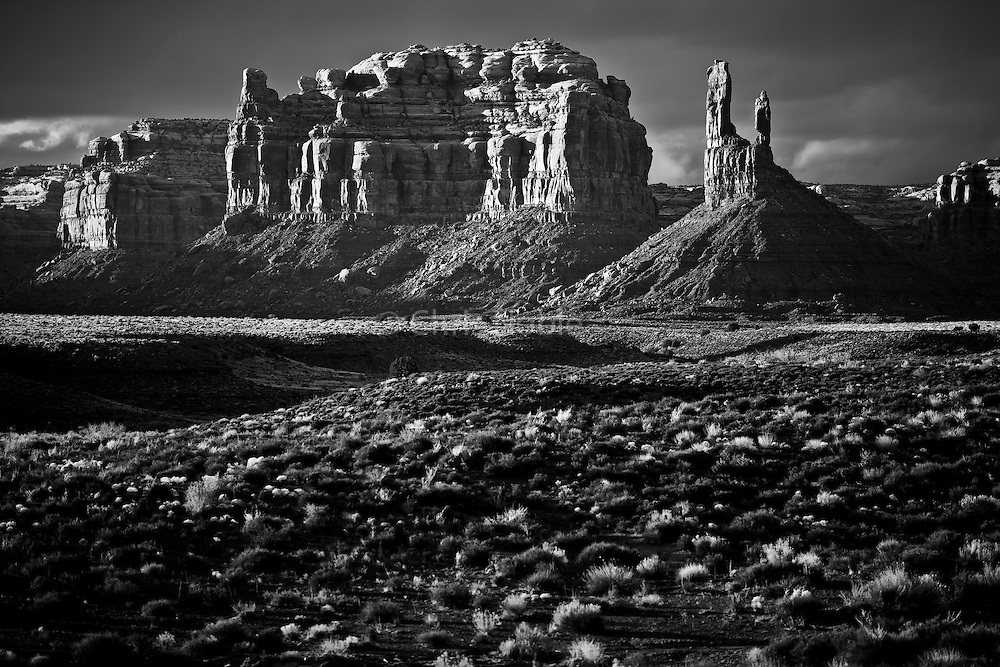 Evening light on the buttes and towers of the Valley of the Gods in Southern Utah.