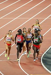 London, August 11 2017 . The pack heads down the back straight in the third women's 800m semi-final on day eight of the IAAF London 2017 world Championships at the London Stadium. © Paul Davey.