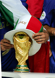 FIFA World Cup 2006 Final : Italy players put a hat over the FIFA World Cup trophy