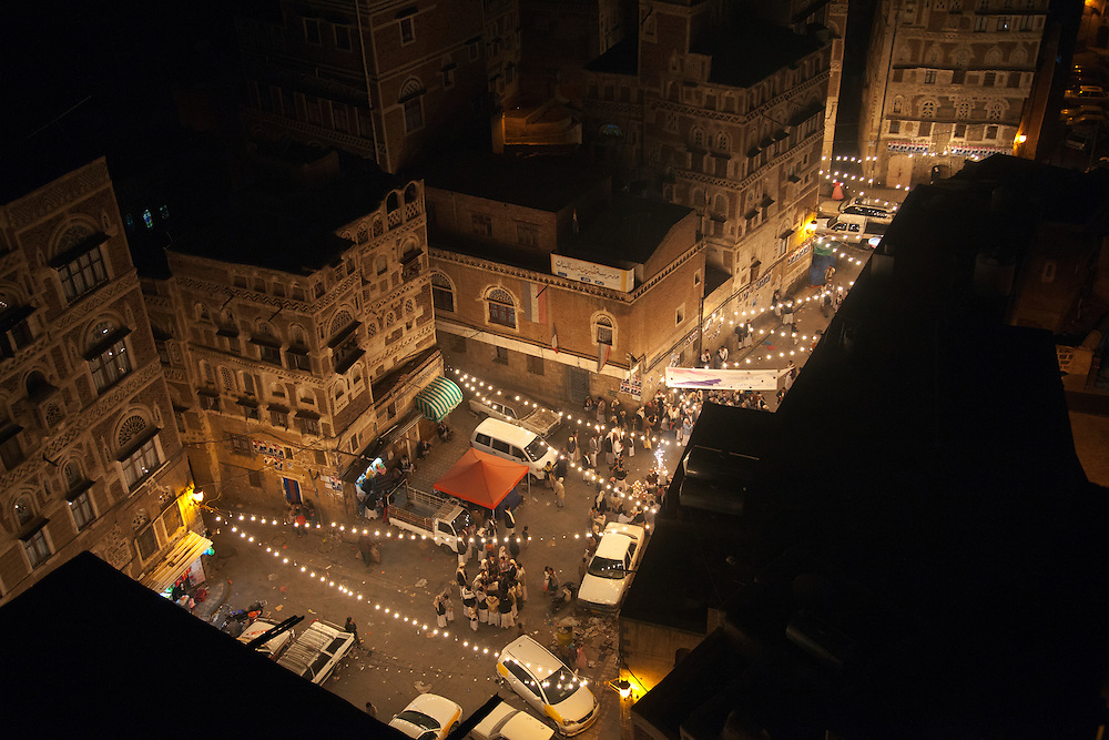 Generators keep the lights blazing at a wedding in Sana's Old City, a UNESCO World Heritage site, where power cuts are frequent, Sana, Yemen, April 5, 2012.