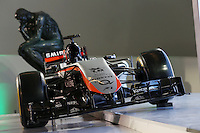 The Sahara Force India F1 Team 2015 livery is revealed in the Soumaya Museum.<br /> Sahara Force India F1 Team Livery Reveal, Soumaya Museum, Mexico City, Mexico. Wednesday 21st January 2015.
