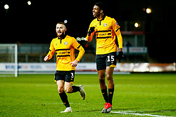 Dan Butler of Newport County and Tyreeq Bakinson of Newport County celebrate a own goal from Wrexham - Mandatory by-line: Ryan Hiscott/JMP - 11/12/2018 - FOOTBALL - Rodney Parade - Newport, Wales - Newport County v Wrexham - Emirates FA Cup second round proper