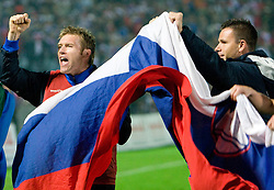 Matej Mavric of Slovenia and Anton Zlogar celebrate at  the 2010 FIFA World Cup South Africa Qualifying match between Slovakia and Slovenia, on October 10, 2009, Tehelne Pole Stadium, Bratislava, Slovakia.  (Photo by Vid Ponikvar / Sportida)