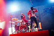 Twenty One Pilots performing live at the SAP Center concert venue in San Jose, CA on February 10, 2017