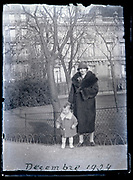 mother with little girl in a public park France 1924