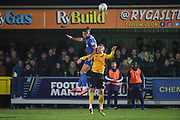 AFC Wimbledon defender Nesta Guinness-Walker (18) winning header during the EFL Sky Bet League 1 match between AFC Wimbledon and Southend United at the Cherry Red Records Stadium, Kingston, England on 1 January 2020.