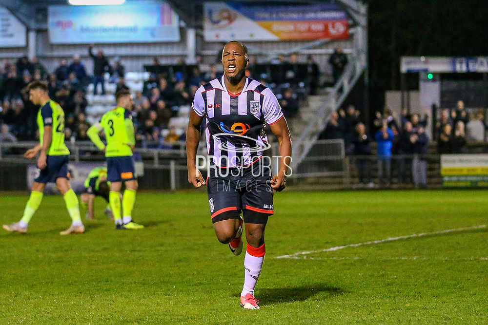 Goal - Maidenhead United midfielder Adrian Clifton scores and celebrates a goal 2-0 during the Vanarama National League match between Maidenhead United and Havant & Waterlooville FC at York Road, Maidenhead, United Kingdom on 26 March 2019.