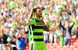Christian Doidge of Forest Green Rovers celebrates his goal  - Mandatory by-line: Nizaam Jones/JMP - 14/05/2017 - FOOTBALL - Wembley Stadium- London, England - Forest Green Rovers v Tranmere Rovers - Vanarama National League Final