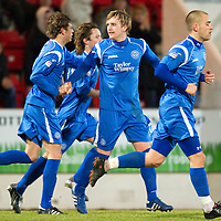 St Johnstone v Motherwell....26.01.11  <br /> Liam Craig celebrates his penalty with Murray Davidson, Danny Grainger and Stevie May<br /> Picture by Graeme Hart.<br /> Copyright Perthshire Picture Agency<br /> Tel: 01738 623350  Mobile: 07990 594431