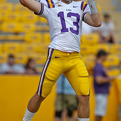 October 8, 2011; Baton Rouge, LA, USA; LSU Tigers quarterback Jared Foster (13) prior to kickoff of a game against the Florida Gators at Tiger Stadium.  Mandatory Credit: Derick E. Hingle-US PRESSWIRE / © Derick E. Hingle 2011