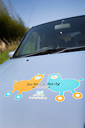 Detail of a car that belongs to Japan Car Sharing Association in Ishinomaki, Japan.