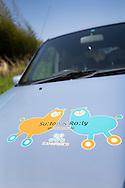 Detail of a car that belongs to Japan Car Sharing Association in Ishinomaki, Japan.