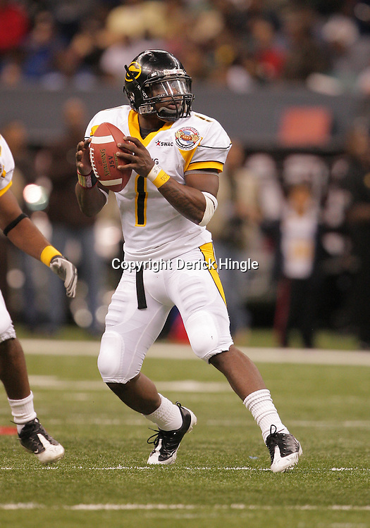 2008 November, 29: Grambling State quarterback Greg Dillon (1) drops back for a pass during the 35th annual State Farm Bayou Classic between Southern University and Grambling State University at the Louisiana Superdome in New Orleans, LA.  .