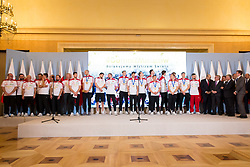 October 1, 2018 - Warsaw, Poland - Poland men's national volleyball team during the meeting with Prime Minister of Poland Mateusz Morawiecki at Chancellery of the Prime Minister in Warsaw, Poland on 1 October 2018. Poland won the gold medal after defeating Brazil in FIVB Volleyball Men's World Championship Final in Turin on 30 September. (Credit Image: © Mateusz Wlodarczyk/NurPhoto/ZUMA Press)