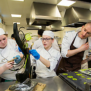 17.01.17<br /> Belgian Chocolatier, Erik van der Veken demonstration LIT. <br /> <br /> Pictured are, Brailey Clancy and Ashley Martell with Erik van der Veken. Picture: Alan Place