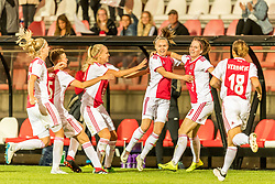 Ajax women celebrate the goal of Ilna Reetta Salmi of Ajax women (M) during the UEFA Women's Champions League match between Ajax Amsterdam and Sparta Praag at Sportpark De Toekomst on September 12, 2018 in Amsterdam, The Netherlands