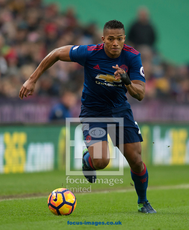 Luis Antonio Valencia of Manchester United during the Premier League match at the Bet 365 Stadium, Stoke-on-Trent<br /> Picture by Russell Hart/Focus Images Ltd 07791 688 420<br /> 21/01/2017