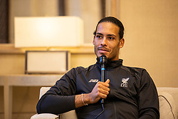 DOHA, QATAR - Friday, December 20, 2019: Liverpool's Virgil van Dijk with The Anfield Wrap at the St Regis Hotel Doha ahead of the FIFA Club World Cup Final match between CR Flamengo and Liverpool FC. (Pic by David Rawcliffe/Propaganda)