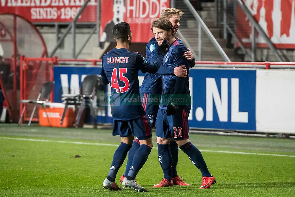 (L-R) Justin Kluivert of Ajax, Frenkie de Jong of Ajax, Lasse Schone of Ajax 0-1 during the Dutch Eredivisie match between FC Twente Enschede and Ajax Amsterdam at the Grolsch Veste on December 02, 2017 in Enschede, The Netherlands
