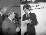 07/01/1983.01/07/1983.7th January 1983.The Aer Lingus Young Scientist Exhibition at the RDS, Dublin...Picture shows Garrett Fitzgerald, Taoiseach with Basil Geoghegan from Glenstal Abbey School, Co. Limerick who was runner up for his project 'A Qualitative and Quantitive Analysis of Compost and Manure.'
