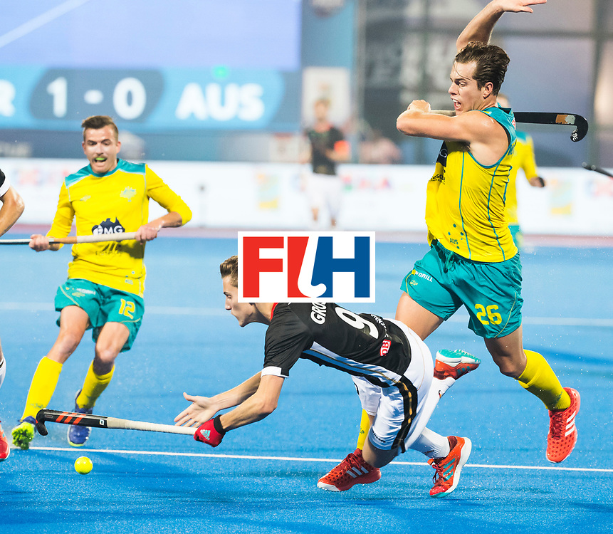 BHUBANESWAR - The Odisha Men's Hockey World League Final . Match ID 05 . Germany  v Australia . Johannes Grosse (Ger) stopped by Dylan Wotherspoon (Aus) .  WORLDSPORTPICS COPYRIGHT  KOEN SUYK