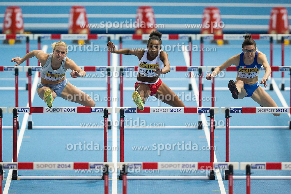 07.03.2014, Ergo Arena, Sopot, POL, IAAF, Leichtathletik Indoor WM, Sopot 2014, Tag 1, im Bild MARINA TOMIC, URSZULA BHEBHE, GIULIA PENNELLA // MARINA TOMIC , URSZULA BHEBHE , GIULIA PENNELLA during day one of IAAF World Indoor Championships Sopot 2014 at the Ergo Arena in Sopot, Poland on 2014/03/07. EXPA Pictures © 2014, PhotoCredit: EXPA/ Newspix/ Radoslaw Jozwiak<br /> <br /> *****ATTENTION - for AUT, SLO, CRO, SRB, BIH, MAZ, TUR, SUI, SWE only*****