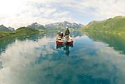 Alaska southwest, tourists enjoying a boat ride on Nuyakuk Lake. MR