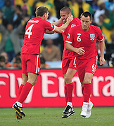 Matthew Upson celebrates after scoring for England during the 2010 World Cup Soccer match between England and Germany in a group 16 match played at the Freestate Stadium in Bloemfontein South Africa on 27 June 2010.