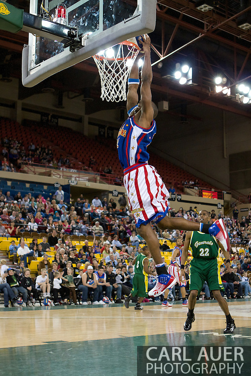 April 30th, 2010 - Anchorage, Alaska:  Hi-Lite Bruton of the Harlem Globetrotters dunks against the Washington Generals Friday night at the Sullivan Arena.