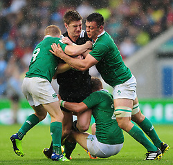 Jordie Barrett of New Zealand U20 is wrapped up by the Ireland U20 defence - Mandatory byline: Patrick Khachfe/JMP - 07966 386802 - 11/06/2016 - RUGBY UNION - Manchester City Academy Stadium - Manchester, England - New Zealand U20 v Ireland U20 - World Rugby U20 Championship 2016.