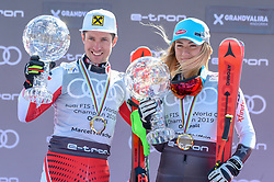 17.03.2019, Soldeu, AND, FIS Weltcup Ski Alpin, Siegerehrung, Gesamtweltcupwertung, im Bild v.l. 1. Platz Damen Mikaela Shiffrin (USA) mit der grossen Kristallkugel für den Sieg im Gesamtweltcup Saison 2018/19, 1. Platz Herren Marcel Hirscher (AUT) mit der grossen Kristallkugel für den Sieg im Gesamtweltcup Saison 2018/19 // f.l. 1st place Women Mikaela Shiffrin of the USA with the big crystal globe for the victory in the overall World Cup season 2018/19 1st place Men Marcel Hirscher of Austria with the big crystal globe for the victory in the overall World Cup season 2018/19 during the allover winner Ceremony for the Worlcup of FIS Ski Alpine World Cup finals. Soldeu, Andorra on 2019/03/17. EXPA Pictures © 2019, PhotoCredit: EXPA/ Erich Spiess