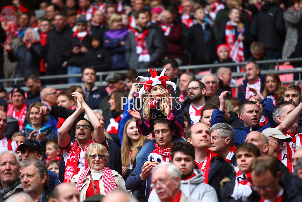 Lincoln City fans during the EFL Trophy Final match between Lincoln City and Shrewsbury Town at Wembley Stadium, London, England on 8 April 2018. Picture by John Potts.