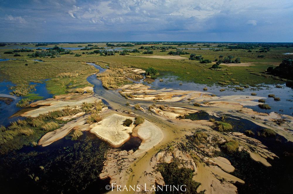 Sand deposits (aerial), Okavango Delta, Botswana