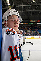 KELOWNA, BC - OCTOBER 12: Connor Zary #18 of the Kamloops Blazers stands on the bench against the Kelowna Rockets at Prospera Place on October 12, 2019 in Kelowna, Canada. (Photo by Marissa Baecker/Shoot the Breeze)