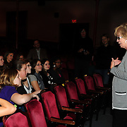 Women Fully Clothed comedian Jane Eastwood (R) speaks with members of Arts In Reach during a Q/A session at The Music Hall in Portsmouth, NH