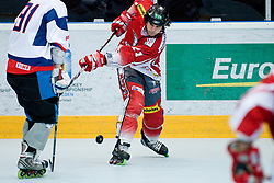 Florian Iberer of Austria misses the puck at IIHF In-Line Hockey World Championships qualification match between National teams of Germany and Great Britain on July 1, 2010, in Karlstad, Sweden. (Photo by Matic Klansek Velej / Sportida)