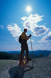 Taking in the views from the cilffs on Stairs Mountain in the White Mountain N.F. Davis Path, part of the Cohos Trail.  Sargents Purchase, NH